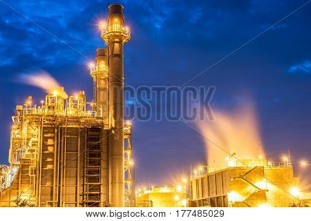 Petrochemical plant at twilight,Aerial view oil refinery night background during twilight,Industrial zone,Energy power station.