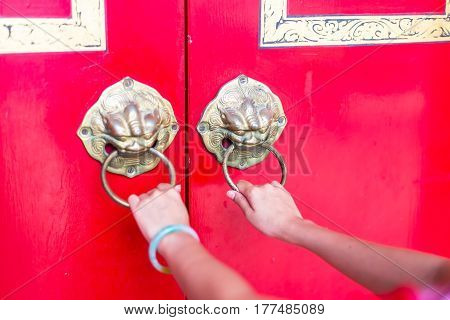 Chinese doorway with lion head knocker,Chinese doorway with lion head knocker