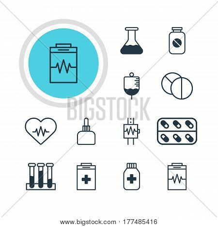 Vector Illustration Of 12 Medicine Icons. Editable Pack Of Experiment Flask, Heartbeat, Antibody And Other Elements.