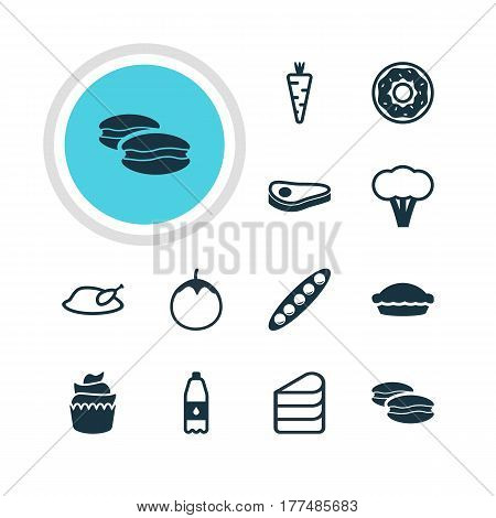 Vector Illustration Of 12 Cuisine Icons. Editable Pack Of Grill, Drink Bottle, Biscuit And Other Elements.