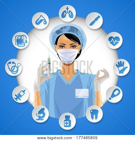 Nurse girl in a round frame with medical care icon set. Medical care template and web design