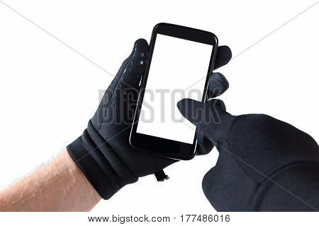 Smartphone in hand black gloves finger on screen
