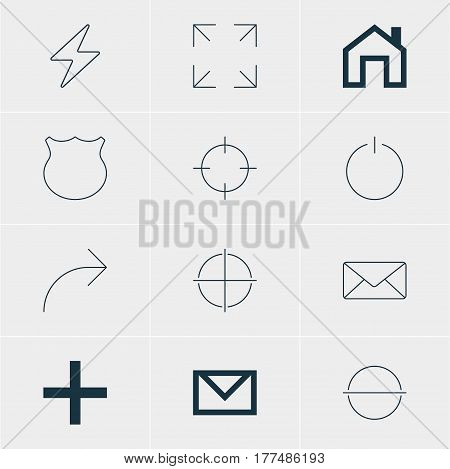 Vector Illustration Of 12 Interface Icons. Editable Pack Of Envelope, Share, Letter And Other Elements.