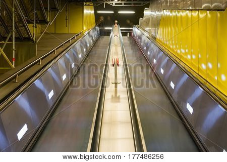 Bright Yellow Subway Metal Escalator Long Tall Architecture Interior Underground City Urban Diagonal Perpsective