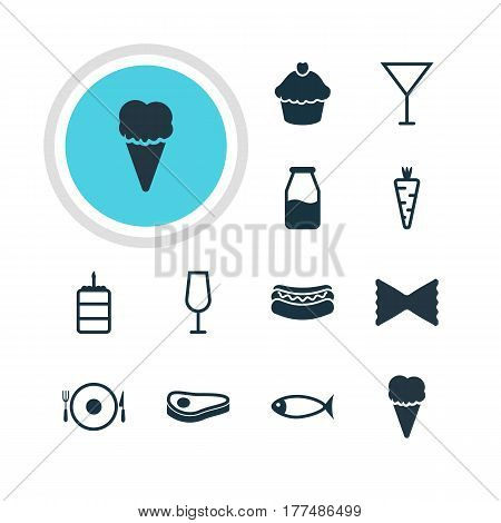 Vector Illustration Of 12 Meal Icons. Editable Pack Of Streetfood, Beefsteak, Seafood And Other Elements.