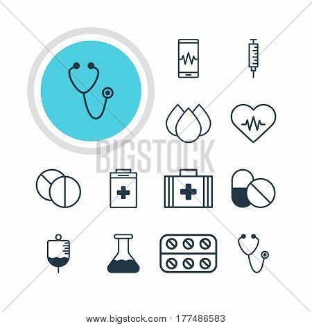 Vector Illustration Of 12 Medicine Icons. Editable Pack Of Antibody, Medical Bag, Phone Monitor And Other Elements.