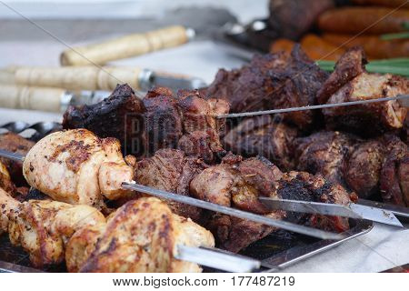 Shish kebab with the mix of spices. Food
