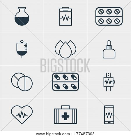 Vector Illustration Of 12 Medicine Icons. Editable Pack Of Antibody, Pills, Heartbeat And Other Elements.