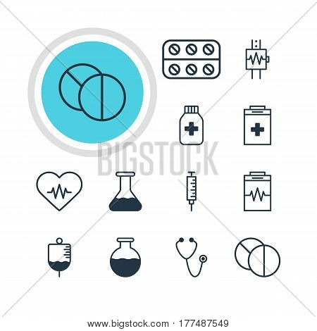 Vector Illustration Of 12 Health Icons. Editable Pack Of Vial, Pulse, Antibody And Other Elements.