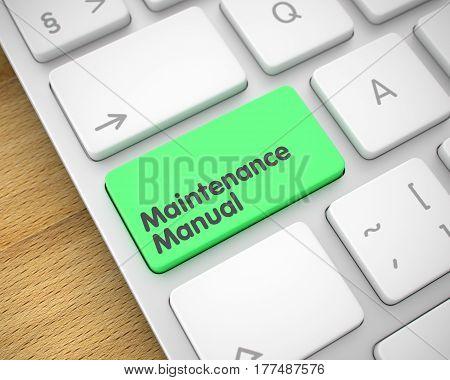 Closeup View on Metallic Keyboard - Maintenance Manual Green Key. Maintenance Manual Written on the Green Button of Slim Aluminum Keyboard. 3D Illustration.