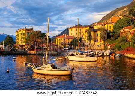 Yachts In A Harbour On Lake Como, Italy, On Sunset