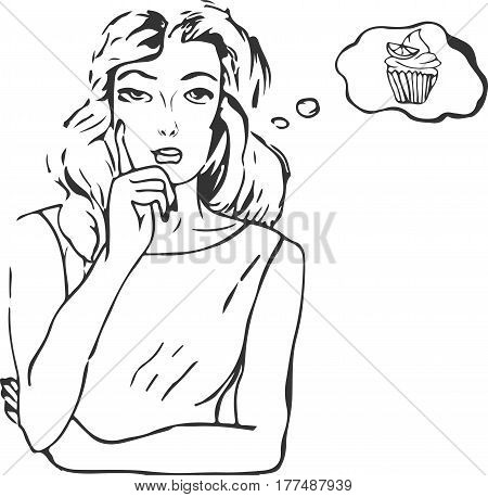 Vector illustration of woman girl in gesture of thinking considering serious with blank space or copyspace for your text or design