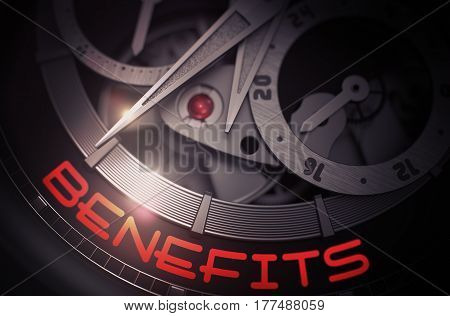 Benefits on the Face of Luxury Men Watch Machinery Macro Detail Monochrome. Benefits - Black and White Up Close of Wrist Watch Mechanism. Time and Business Concept with Lens Flare. 3D Rendering.