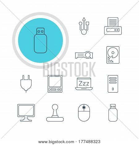 Vector Illustration Of 12 Laptop Icons. Editable Pack Of Presentation, Pda, Screen And Other Elements.