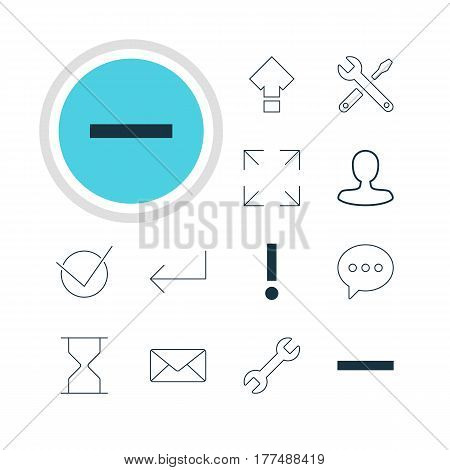 Vector Illustration Of 12 Interface Icons. Editable Pack Of Wide Monitor, Man Member, Wrench And Other Elements.