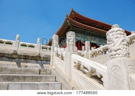 Old traditional Chinese building under blue sky