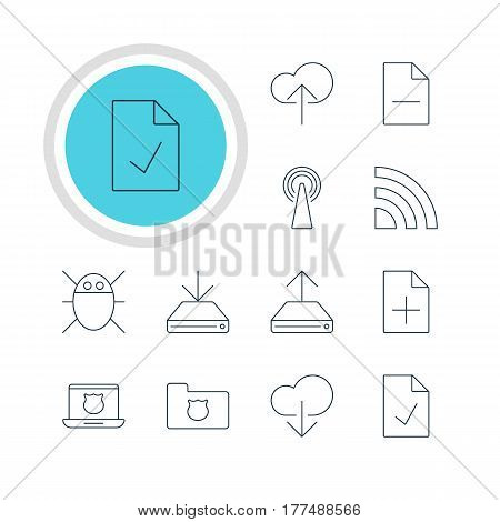 Vector Illustration Of 12 Network Icons. Editable Pack Of Hdd Sync, Computer Virus, Wireless Network And Other Elements.