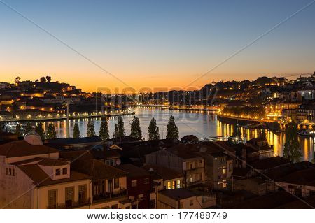 Panoramic view of river Douro and the Old town of Porto Portugal