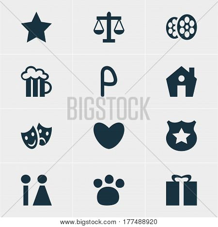 Vector Illustration Of 12 Check-In Icons. Editable Pack Of Pet Shop, Cop, Masks And Other Elements.