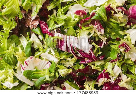 Salad mix on a wooden background. Ingredients for salad. Salad. Dietary food concept. Vegetable background. Background of salad