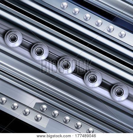 shining metal texture in perspective for background with rivets, 3D illustration