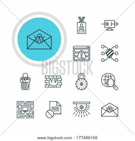 Vector Illustration Of 12 Web Safety Icons. Editable Pack Of System Security, Account Data, Safe Lock And Other Elements.