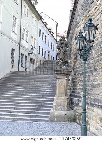 Old Rague City Center Street With Stairs