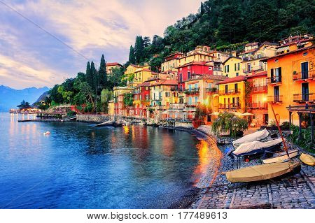 Town Of Menaggio On Sunset, Lake Como, Milan, Italy