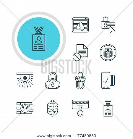 Vector Illustration Of 12 Protection Icons. Editable Pack Of Network Protection, Encoder, Finger Identifier And Other Elements.