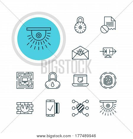 Vector Illustration Of 12 Privacy Icons. Editable Pack Of Safe Lock, Network Protection, Finger Identifier And Other Elements.