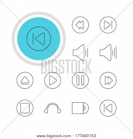 Vector Illustration Of 12 Music Icons. Editable Pack Of Reversing, Volume Up, Preceding And Other Elements.
