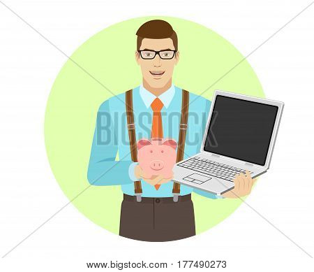 Businessman holding laptop notebook and piggy bank. A man wearing a tie and suspenders. Portrait of businessman in a flat style. Vector illustration.