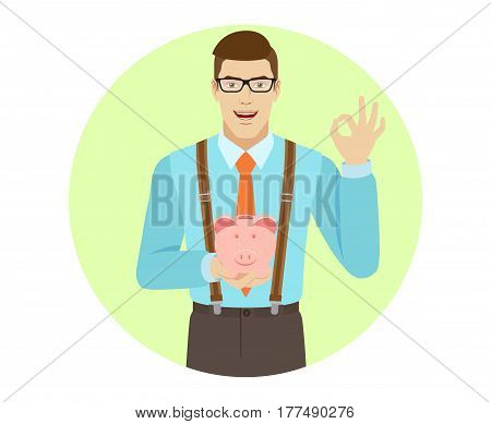 Businessman holding piggy bank and showing a okay hand sign. A man wearing a tie and suspenders. Portrait of businessman in a flat style. Vector illustration.