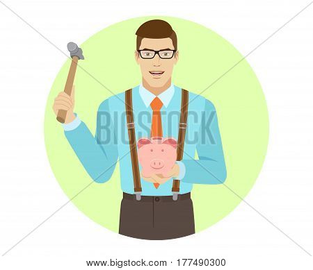 Businessman trying to break a piggy bank with a hammer. A man wearing a tie and suspenders. Portrait of businessman in a flat style. Vector illustration.