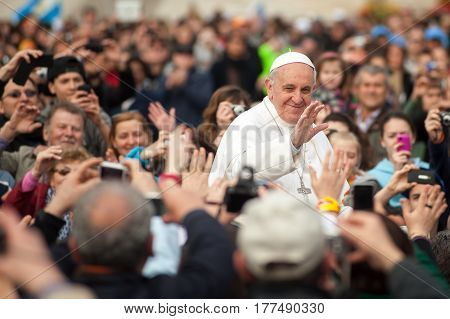 Rome Italy - April 04: His Holiness Pope Francis I greets gathered prayers in Rome Italy on April 04 2013
