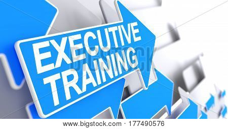 Executive Training, Message on the Blue Cursor. Executive Training - Blue Arrow with a Inscription Indicates the Direction of Movement. 3D.