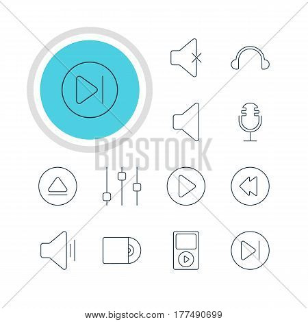 Vector Illustration Of 12 Music Icons. Editable Pack Of Audio, Earphone, Mp3 And Other Elements.