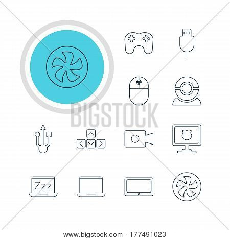 Vector Illustration Of 12 Laptop Icons. Editable Pack Of Tablet, Movie Cam, Cooler And Other Elements.