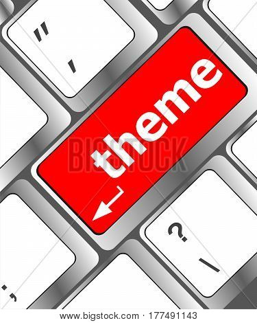 Theme Button On Computer Keyboard Keys, Business Concept