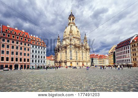 Frauenkirche Church In The Old Town Of Dresden, Germany