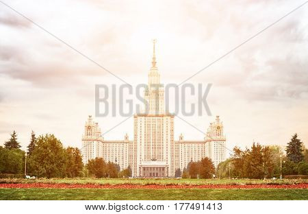 Moscow State University at dusk in Russia