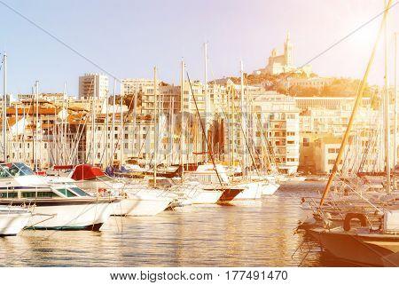 View of Marseille's Vieux Port and Notre Dame de la Garde church France
