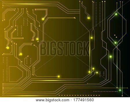 Vector yellow abstract tech background. Hi tech spacecraft motherboard and information transfer topic. Light effects are modern digital elements.