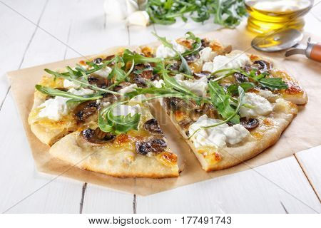 White Mushroom Pizza with Ricotta Cheese and Rucola