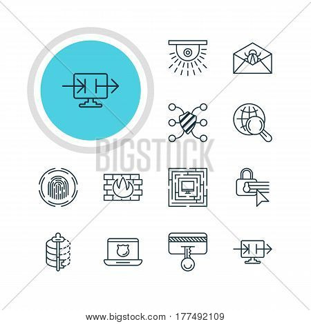Vector Illustration Of 12 Protection Icons. Editable Pack Of Safeguard, Internet Surfing, Network Protection And Other Elements.