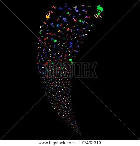 Radio Transmitter random fireworks stream. Vector illustration style is flat bright multicolored iconic symbols on a black background. Object fountain made from scattered symbols.