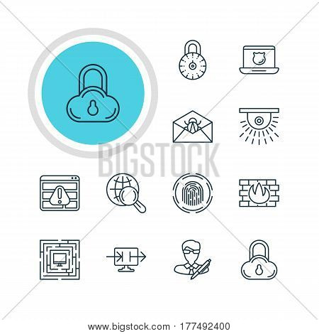 Vector Illustration Of 12 Internet Security Icons. Editable Pack Of Data Security, Copyright, Finger Identifier And Other Elements.