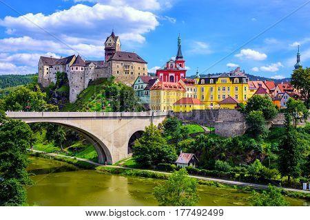 Town And Castle Loket Near Karlovy Vary, Czech Republic