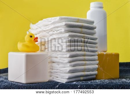 Diaper, body oil, baby powder and so on