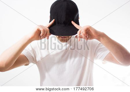 The Man, Guy In The Blank Black, Baseball Cap, Snapback  On A White Background, Mock Up, Free Space,